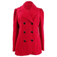 Maison Jules Women's Double-Breasted Peacoat Red Size Large