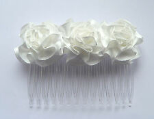 IVORY ROSETTE ROSE HAIR COMB BRIDE BRIDESMAID FLOWER GIRL FIRST HOLY COMMUNION