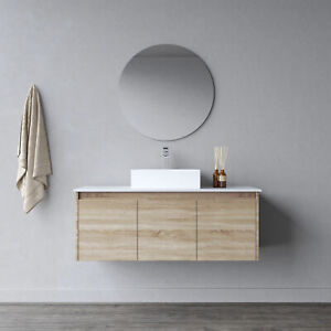 Melbourne Bathroom Wooden Soft Close 1200 Wall Hung Vanity Flat Stone Top 17