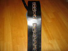 LEATHER GUITAR STRAP CUSTOM MADE 3 1/2'' BLACK WITH YOUR NAME ( PERSONALIZED)