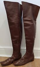 MARNI Chestnut Brown Leather Over Knee Square Toe Winter Boots EU39.5 UK6.5