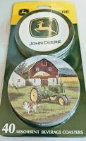 John Deere Farm Tractor Absorbent Beverage Coasters Set of 40 NEW