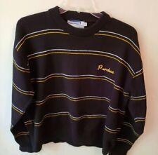 Men's Marlomar Purdue Black sweater white/gold stripe size XXL vintage
