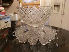 Uber Rare Antique Punch Bowl ..Base & 12 Cups