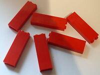 Lego 6 red bricks 1 x 2 x 5 / 6  briques rouges