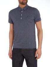 Peter Werth Vista Short Sleeve Polo Stripes Grey Purple 2xl