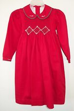 Will'beth Red Smocked Holiday Dress Girl's Size 4