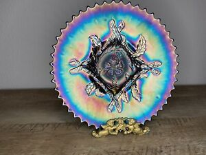 DUGAN APPLE BLOSSOM TWIGS CARNIVAL GLASS PLATE, ELECTRIC PURPLE.