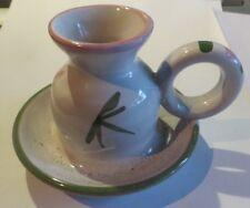 Bougeoir en céramique blanc, vert et rose signée RP (robert picault )
