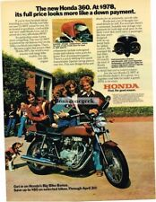 1976 Honda 360T Motorcycle Vtg Print Ad