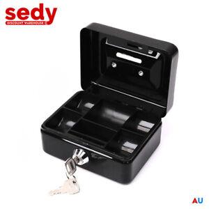 Lockable Cash Box Deposit Slot Petty Cash Money Lock Safe 2 Keys