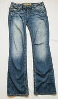 Big Star Womens Destroyed Blue Wash Liv Distressed Boot Cut Jeans Size 27