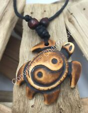 Carved YIN YANG TURTLE Necklace - Surfer - Brown- UK Stock