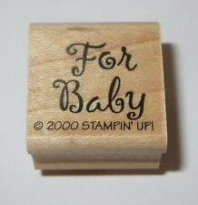 For Baby Rubber Stamp Gift Tag Stampin' Up! Shower Wood Mounted Retired 2000