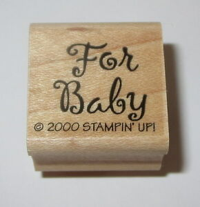 For Baby Rubber Stamp Gift Tag Stampin' Up! Shower Wood Mounted Retired