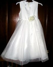 L. A. SUN GIRLS COMMUNION, FLOWER GIRL SZ. 6 FANCY WHITE DRESS  NWT