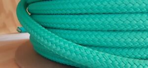 """1/2 """" x 100 ft. Double Braid-Yacht Braid Polyester Rope.Turquoise. Made in USA"""