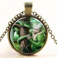 Dragon Silver Alloy Glass Chain Pendant Necklace Chain