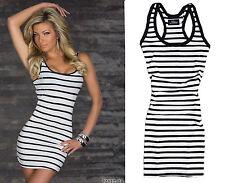 Sommer Streifen-Minikleid Kleid dress robe Long Top Trägershirt  36 38 40 (174)