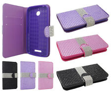 For HTC Desire 510 Premium Bling Diamond Wallet Case Pouch Cover Accessory