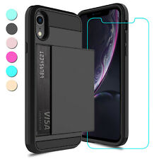 For iPhone XR Case Shockproof TPU Card Wallet Pocket Cover / HD Screen Protector