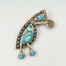 Michal Golan 24K GP Turquoise Aventurine Crystal Beaded Abstract Brooch Pin