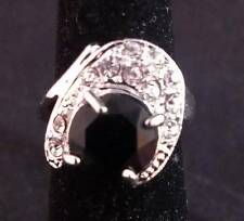Large Black Statement Silver Ring Size 8.5 ~Ships FREE to US R35