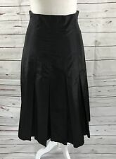 Doncaster Collection Women Pleated Long Skirt Black Silk Blend Size 8 NWT $320
