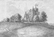 """GREENWICH. Flamstead House (From Hollar's """"Long view""""). London c1880 old print"""