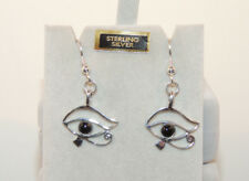 Sterling Silver Eye of Ra with Black Onyx Wire Earrings  (12964)