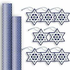 Hanukkah Gift Wrap Wrapping Paper & Gift Tag Assortment (2 Rolls & 8 Tags)