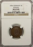 Germany 1 Kreuzer 1856 NGC MS 65 BN UNC Nassau Copper