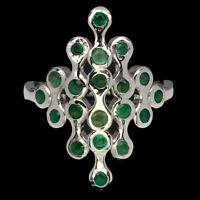 Unheated Round Green Emerald 2mm 14K White Gold Plate 925 Sterling Silver Ring