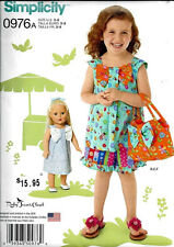 SALE! SEWING PATTERN! MAKE GIRL~DOLL DRESS! GIRLTOP~PANTS! FITS AMERICAN GIRL