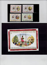ST. VINCENT   SCOTT#1061-1064, 1065  CHRISTMAS ISSUE & CHARLES DICKENS (BIRTH.)