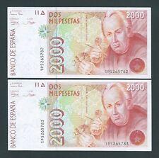 F.C. PAREJA CORRELATIVA 2000 PESETAS 1992 , SERIE 1P , S/C .