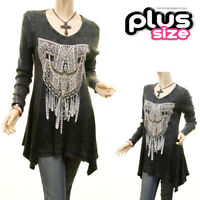 Vocal Washed Black Dream Catch Crystal Studded Gothic Swing tunic Top 1X 2X 3X
