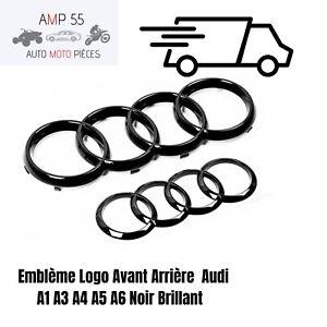 Avant Arrière Emblème pour AUDI Logo Noir Badge A1 A3 A4 A5 A6 RS3 S3 Calandre