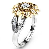 Crystal Sunflower Ring Women Girls White Topaz Wedding Ring Band Size 6-10 Gift