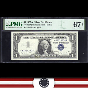 1957-A $1 SILVER CERTIFICATE *STAR REPLACEMENT* PMG 67 EPQ  Fr 1620* *63010230A