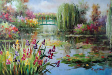 Lily Pond Weeping Willow Trees Bright Flowers Landscape Stretched Oil Painting