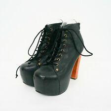 Jeffrey Campbell Lita Boots Booties Sz 7.5 Black Leather Heels Platform Wood