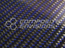 "Carbon Fiber Panel Made with Kevlar Blue .122""/3.1mm 2x2 twill-EPOXY-12""x24"""