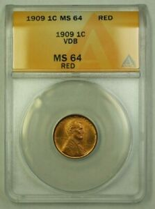 1909 VDB Lincoln Wheat Cent 1c ANACS MS-64 Red (G) (WW)