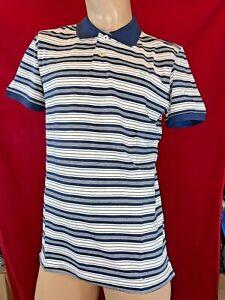 BNWT CREW CLOTHING Men's Navy/White Stripe,Short Sleeve, Polo Shirt. Size UK M
