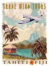 Tradewind Tours Metal Sign, Vintage Float plane, Tahiti, Fiji,Travel, Tropics