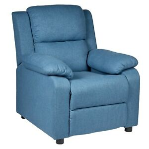 Erika Fabric Adult Recliner Chair with Wooden Frame Plastic Feet - Blue