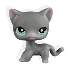 #126 Rare Littlest Pet Shop Gray Short Hair Cat Kitty Green Eye Pink Ears LPS