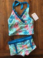 Gymboree Size 4 Tropical Floral Bikini Tankini Swimsuit Boy Shorts Aqua Girls