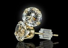 PAIR of Earrings w. 5mm Round Cut Herkimer Diamonds in PURE 14K GOLD - 1 Carat